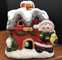 """Підсвічник новорічний """"Сніговик і будинок"""", Новогодний подсвечник """"Снеговик и домик"""" 145"""