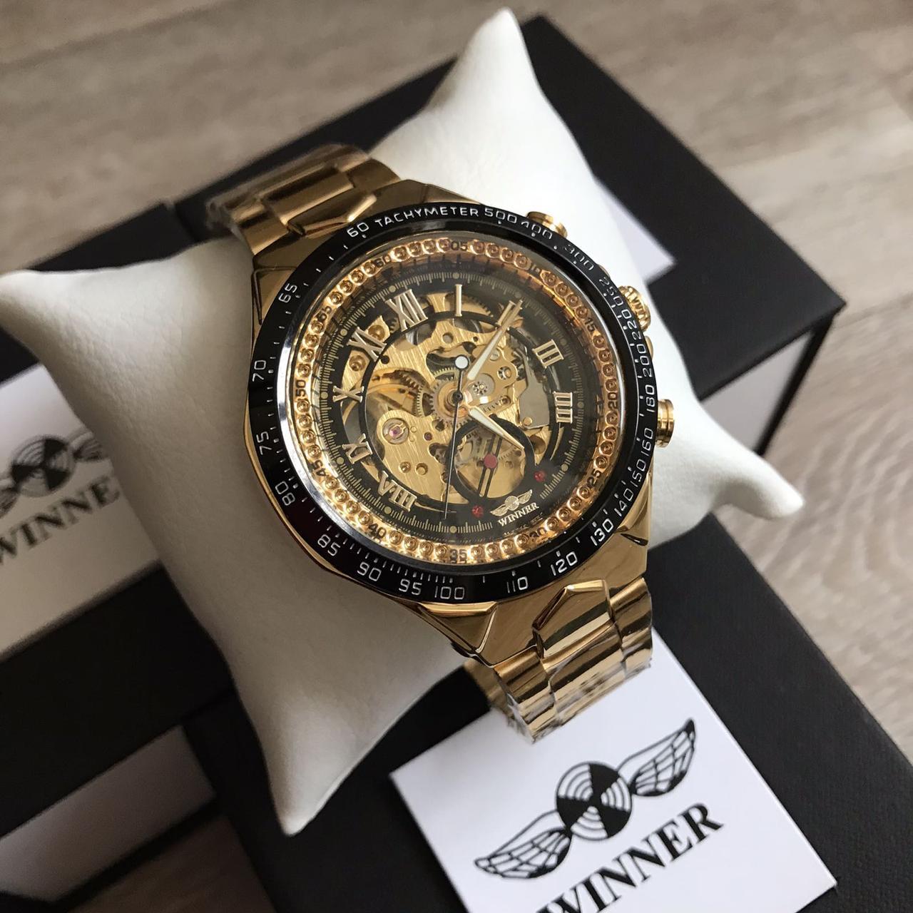 Чоловічий наручний годинник Winner Gold механіка в коробці