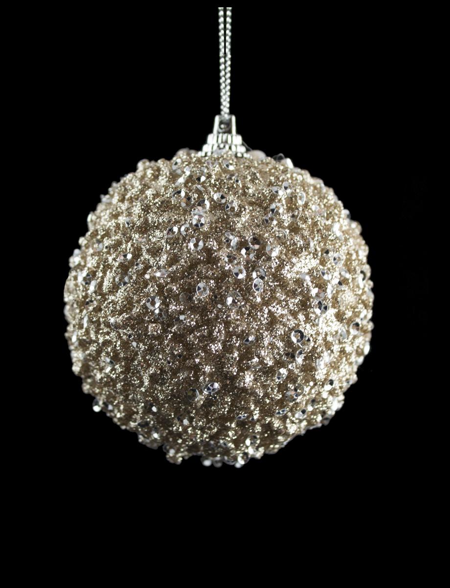 Набор шаров 3шт. глиттер бронза (диаметр - 8см)