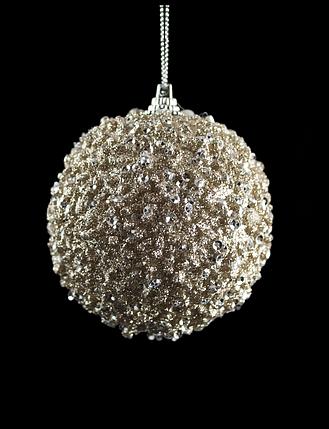 Набор шаров 3шт. глиттер бронза (диаметр - 8см), фото 2