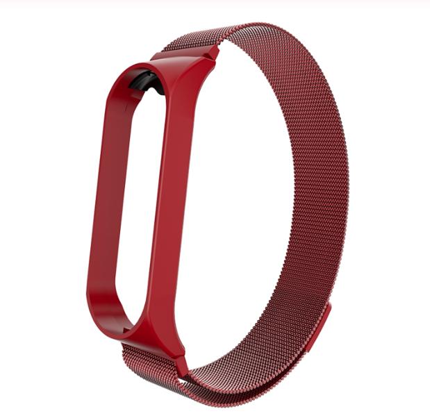 Металлический браслет красный с магнитной застёжкой для фитнес трекера Xiaomi mi band 4 / 3