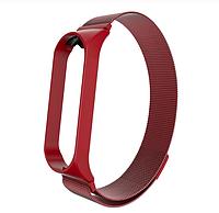 Металлический браслет красный с магнитной застёжкой для фитнес трекера Xiaomi mi band 4 / 3, фото 1