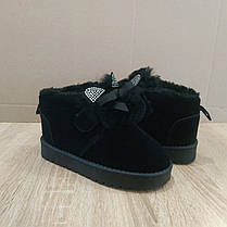 Замшеві уггі UGG дитячі з вушками теплі черевички чорні чобітки на липучці 26, 29, 30 розмір, фото 3