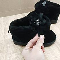 Замшеві уггі UGG дитячі з вушками теплі черевички чорні чобітки на липучці 26, 29, 30 розмір, фото 2