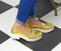 Женские золотистые туфли на низком ходу