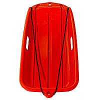 Снегокат пластиковый с веревкой ледянка Kronos Toys 69 х36 см Оранжевый