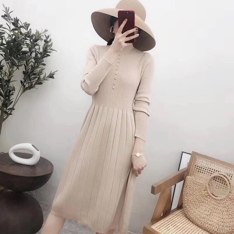 Расклешенное трикотажное платье 44-48 (в расцветках)