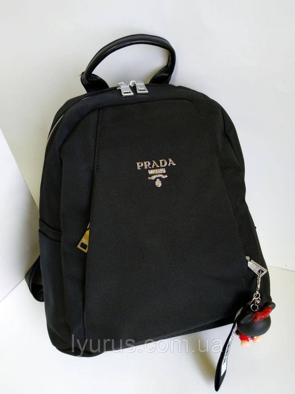 Рюкзак женский повседневный  Prada черного цвета вместительный городской