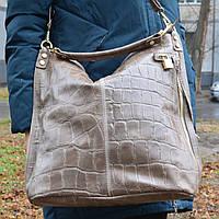 Кожаная итальянская нюдовая сумка - 1579 (Grey)