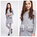 Стильное Платье на девочку Кетти с карманами из меха Размеры 140 146  ТМ Brilliant, фото 6