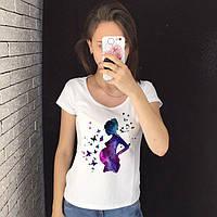 Женская футболка  с принтом - Для беременных, беременная девушка, космос, футболка с рисунком