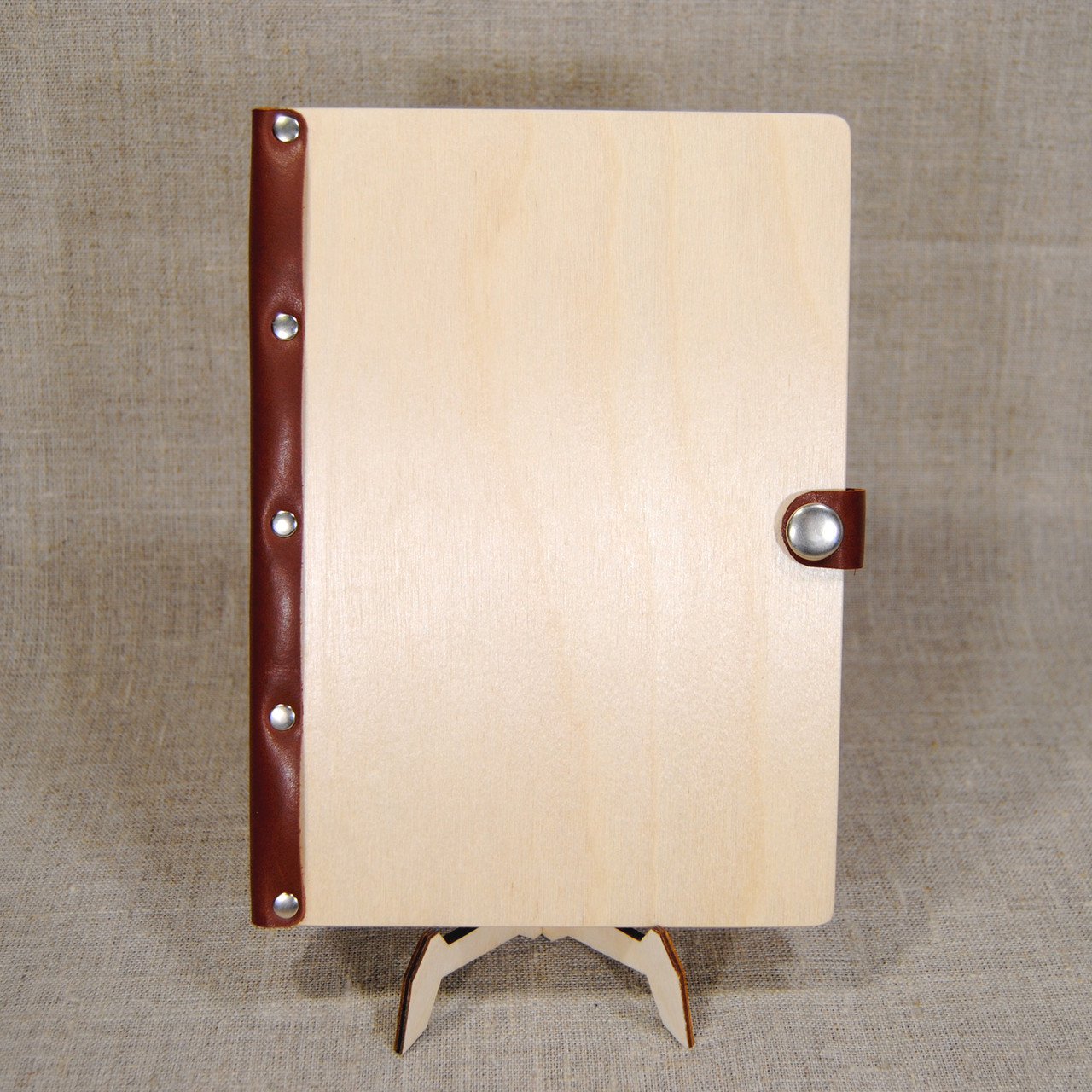 Деревянный ежедневник А5 с кожаным корешком