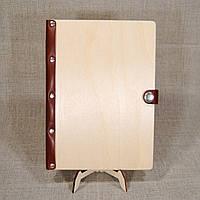 Деревянный ежедневник А5 с кожаным корешком, фото 1