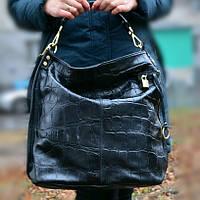 Кожаная итальянская черная сумка - 1579 (Black)