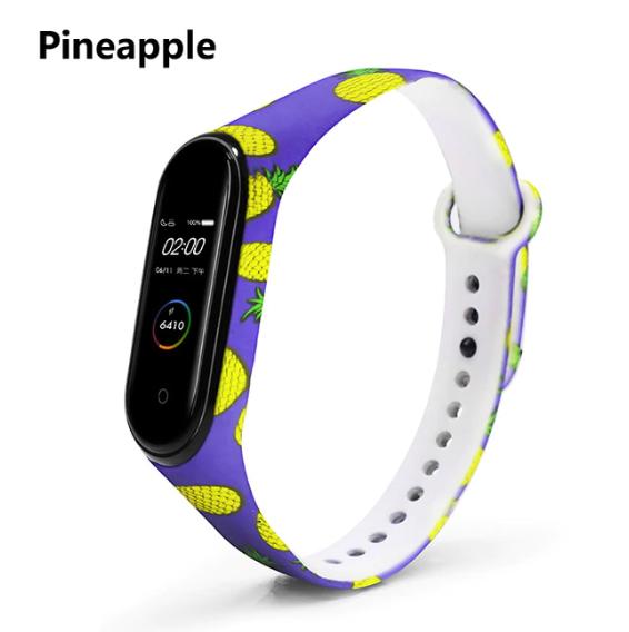 Силиконовый ремешок BOORUI на фитнес трекер Xiaomi mi band 4 / 3 браслет оригинальная расцветка Ананас