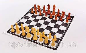 Шахматные фигуры деревянные с полотном для игр  (дерево, h короля-8см) IG-4929