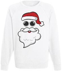 Мужской свитшот Дед Мороз в очках (белый)