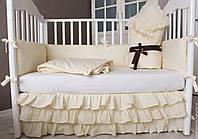 Комплект элитного постельного белья для новорожденных с конвертом и с бортиками в кроватку 5 предметов