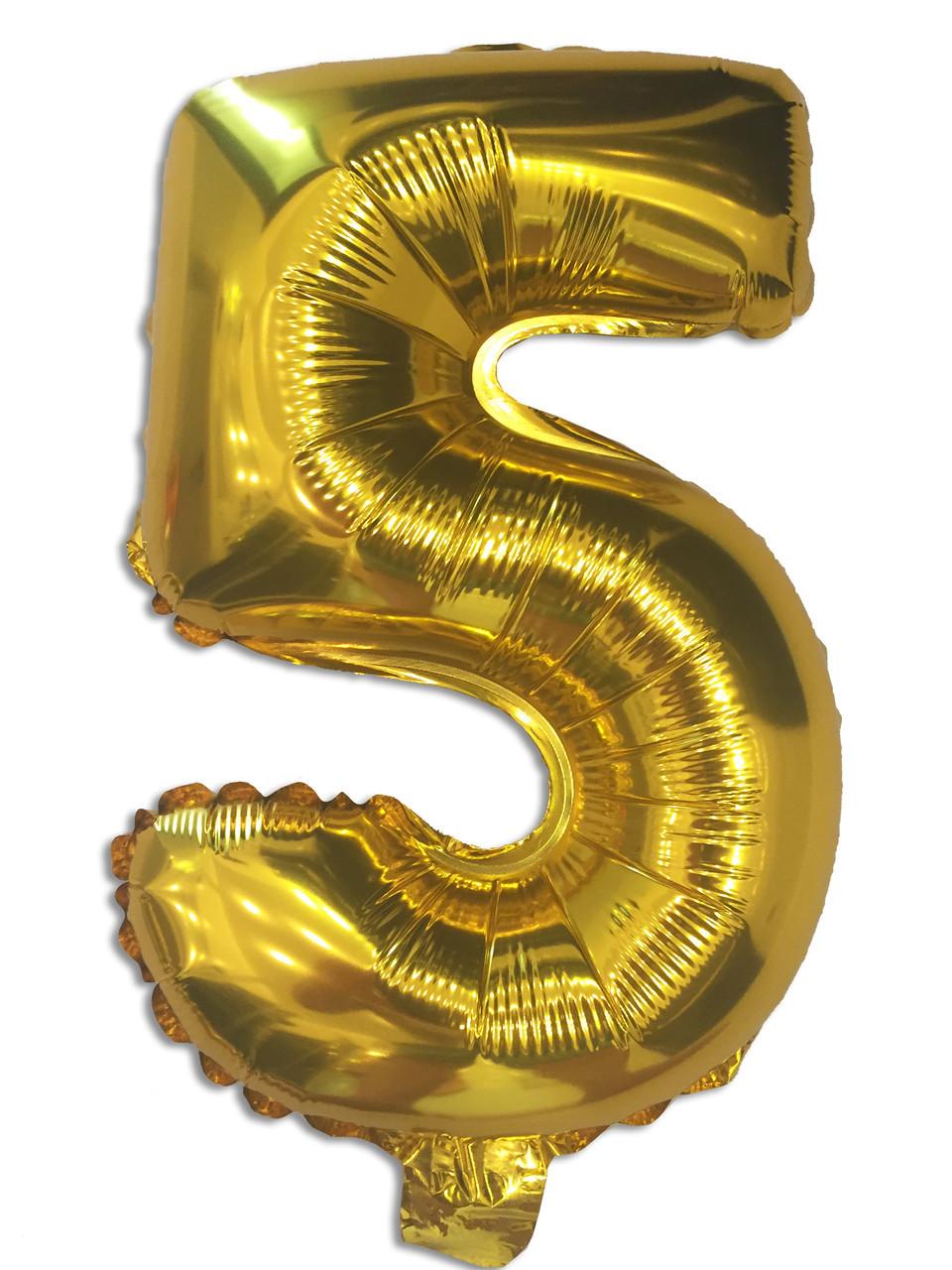 Шар цифра 5 фольгированный золото 35 см 1202