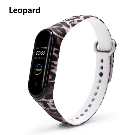 Силиконовый ремешок BOORUI на фитнес трекер Xiaomi mi band 4 / 3 браслет оригинальная расцветка Леопард