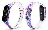 Силіконовий ремінець BOORUI на фітнес трекер Xiaomi mi band 4 / 3 браслет оригінальна забарвлення Квіти, фото 2
