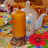 Цилиндрическая восковая свеча D60-115мм из натурального пчелиного воска, фото 4