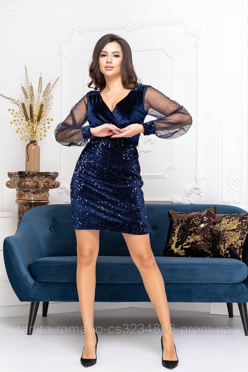Коктейльное платье 9243 Синий