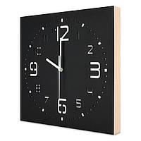 Настенные часы ручной работы Kauza - 3D цифры с деревянным бортом Черные (kau_0002)