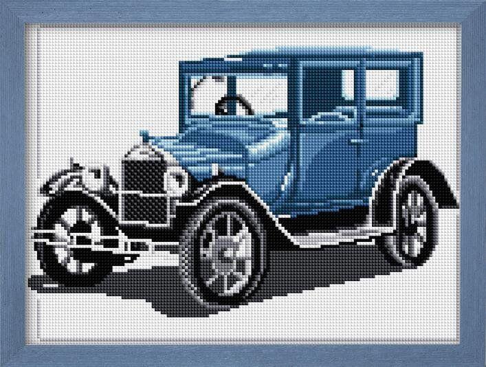 30025 Набор алмазной мозаики Ретро автомобиль синий