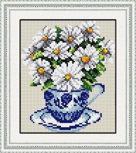 30029 Набор алмазной мозаики Ромашки в чашке