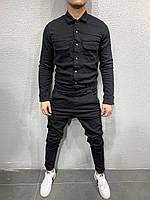 Комбинезон мужской коттоновый черного цвета