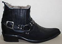 Ботинки зимние черные мужские кожаные, казаки от производителя ЛЕ101