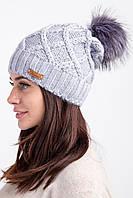 Женская вязанная шапка с меховым помпоном  на зиму - Артикул 2551