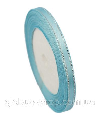 Лента люрекс 2,5  см Цвет голубой с серебряной нитью