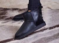 УГГИ мини зимние женские черные кожаные  UGG Classic Mini II Boot Leather
