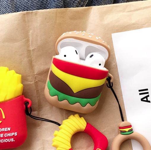 Чехол IQEA тип Гамбургер БЕЗ КОЛЬЦА для наушников Apple AirPods TWS i10 i12 i13 Bluetooth Silicone Case