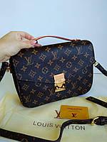 Женская сумка клатч Louis Vuitton Pochette Metis с красной подкладкой