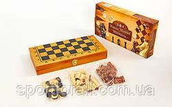 Шахматы, шашки, нарды 3 в 1 бамбуковые  (фигуры-дерево, р-р доски 35x35см)  341-162