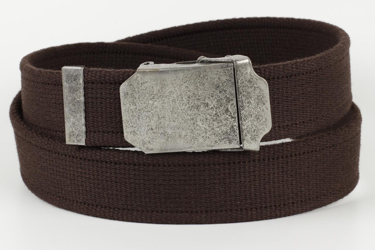 Ремень мужской унисекс джинсовый тканевый однотонный 40 мм темно-коричневый