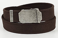 Ремень мужской унисекс джинсовый тканевый однотонный 40 мм темно-коричневый, фото 1