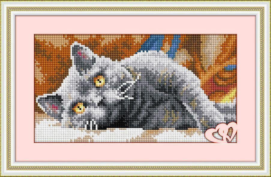 30055 Набор алмазной мозаики Дымчатый кот