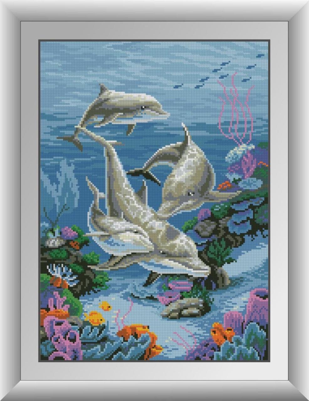 30059 Набор алмазной мозаики Семья дельфинов