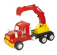 Экскаватор игрушечный, детская игрушка спецтехника. Детские машинка пластмассовая.