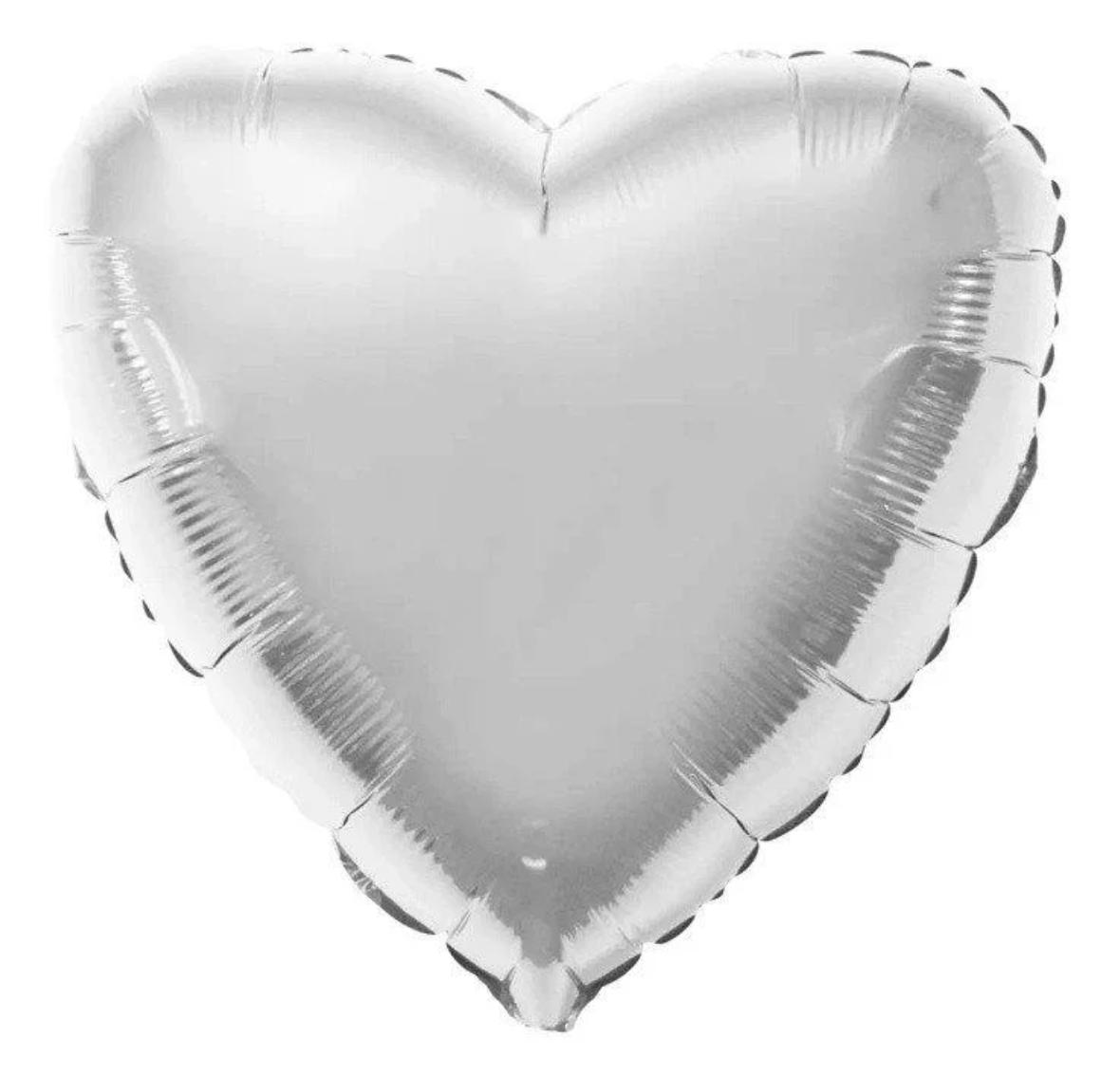Фольгированный шар 18' Flexmetal Сердце серебро металлик, 45 см