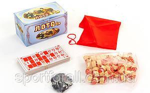 Лото настольная игра в цветной картонной коробке  (90 дер.боч.,48 карт,40 фиш, р-р 17x10x9см)W4949