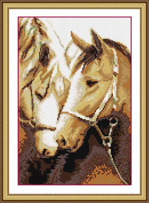 30107 Набор алмазной мозаики Две лошади