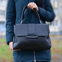 Итальянская черная кожаная сумка - (1130)