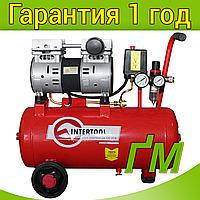 Компрессор INTERTOOL PT-0022 24 л, 1.1 кВт, 220 В, 8 атм, 145 л/мин, малошумный, безмасляный, 2 цилиндра.