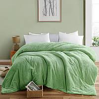 Плед покрывало 220х240 флис Зеленый на кровать, диван двуспальный