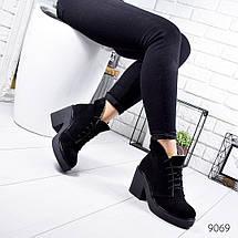 Черные ботильоны натуральная замшевые устойчивый каблук, фото 2